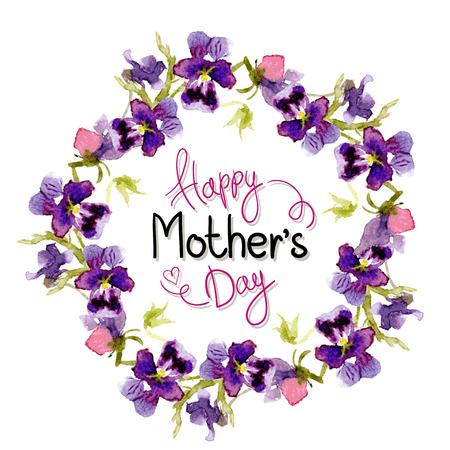 Saludos del día de la Madre. Vector acuarela. Rosetón de pensamientos Foto de archivo - 38815053