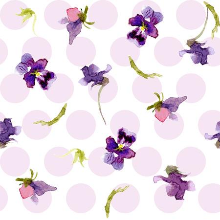 flores moradas: Vector acuarela. De fondo sin fisuras de pensamientos