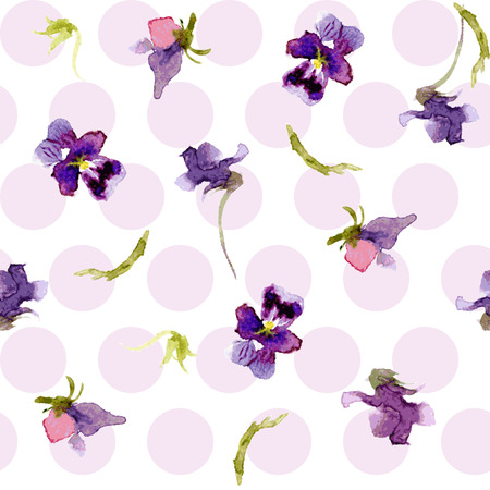 springtime flowers: Vector watercolor. Seamless background of pansies Illustration