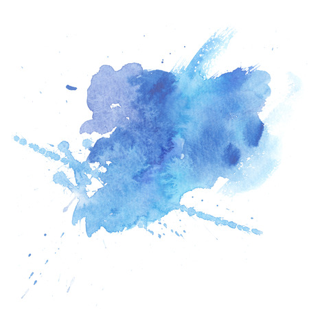 Background of hand-made watercolor  blue stains