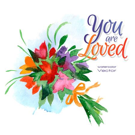 Vector illustration watercolor bouquet, love letter
