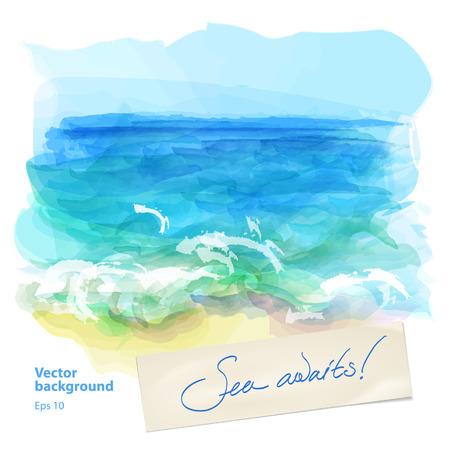 Vector achtergrond aquarel zee landschap