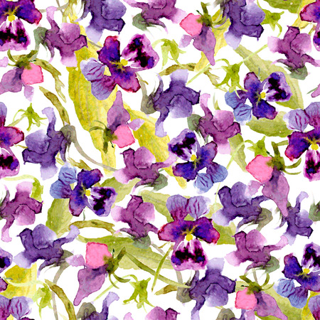 Vector watercolor seamless background of pansies