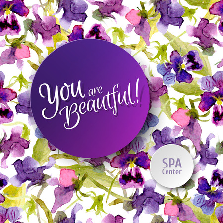 compliments: Vector seamless  watercolor pattern with sticker