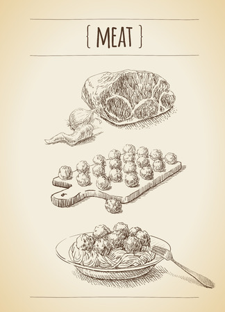 meat dish: Vector vintage set of sketches. Meat and meat balls