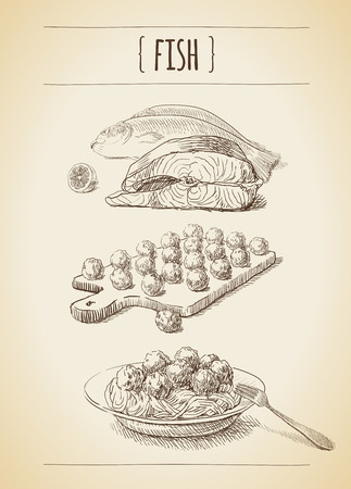 Vector vintage set of sketches. Fish and meatballs