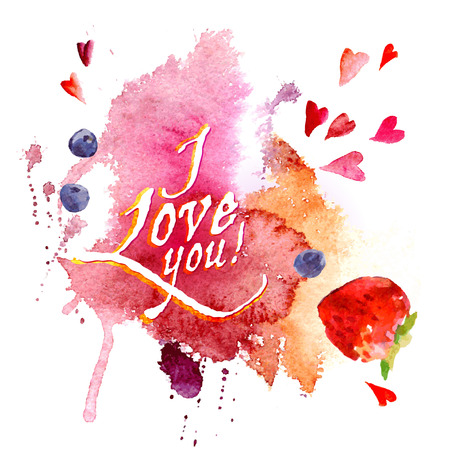 compliments: Vector greeting card. Watercolor stains and hearts