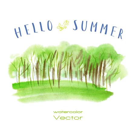 summer trees: Acuarela ilustraci�n de un verde verano �rboles
