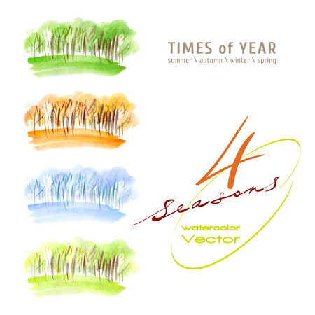 allegory painting: Vector watercolor illustration of a times of the year