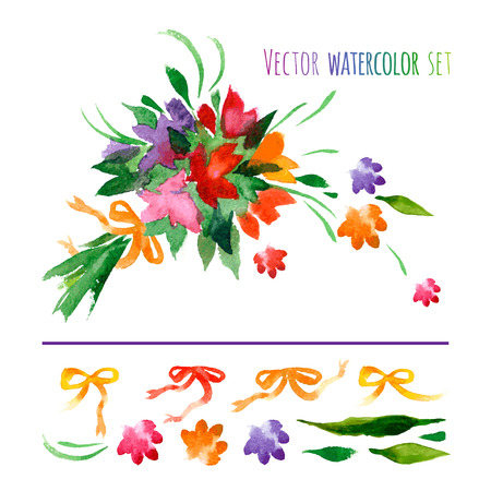 Vector set of watercolor flowers, leaves and ribbons.