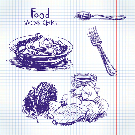 side menu: Vector set of sketches of food and dishes Illustration