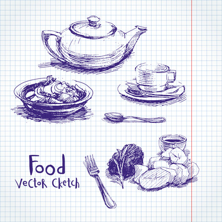 side salad: Vector set of sketches of food and dishes Illustration