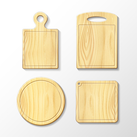 Set vector images of wooden cutting board Ilustracja