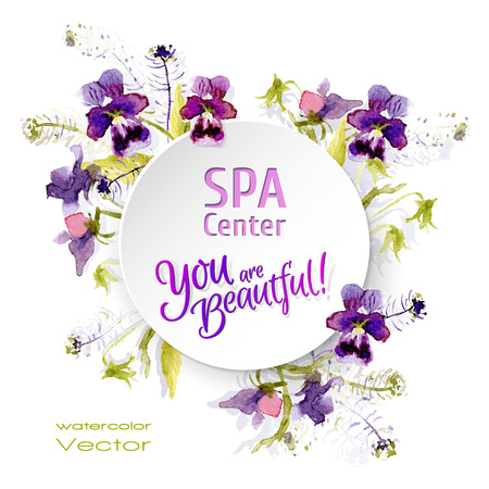 Vector paper sticker with water color flowers. Spa.