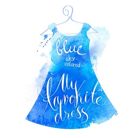 Vector watercolor image. My favorite blue dress Vector
