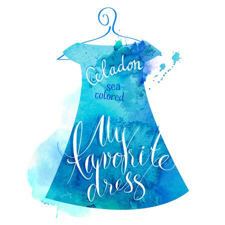 Vector watercolor image. My favorite celadon dress