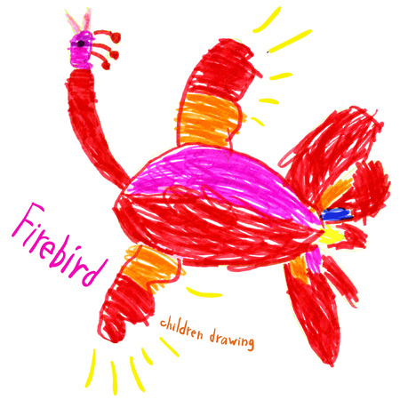 Vector image of the childs drawing. Fantastic Firebird