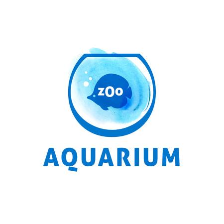 logo poisson: Vecteur d'image stylisée d'un aquarium avec des poissons