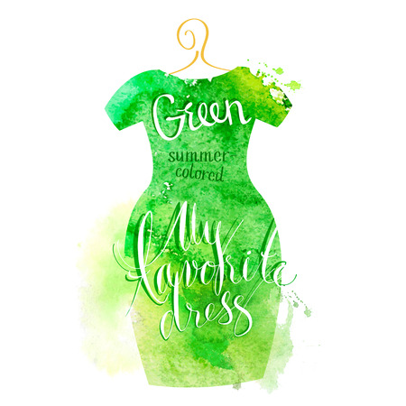 nude fashion model: Vector watercolor image. My favorite green dress
