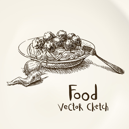 spaghetti: Vector vintage sketch plate with meatballs and spaghetti Illustration