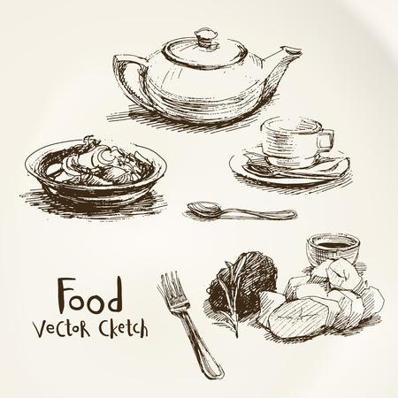 Vector set di schizzi di cibo e piatti