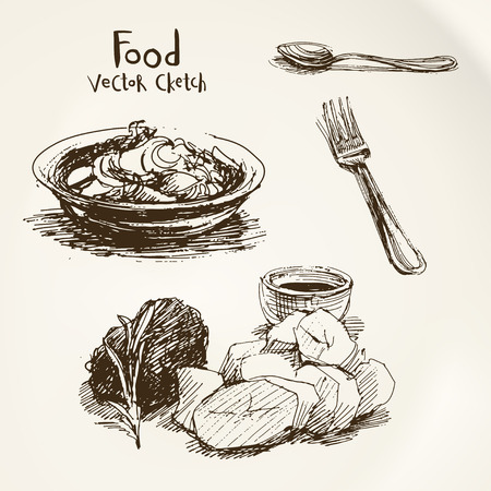dishes: Vector set of sketches of food and dishes Illustration