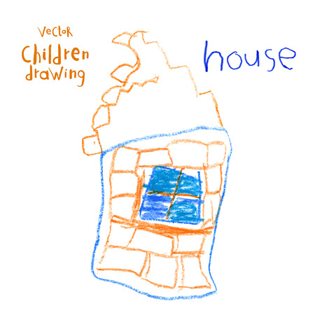 brick house: Vector drawing of real children. Brick house Illustration