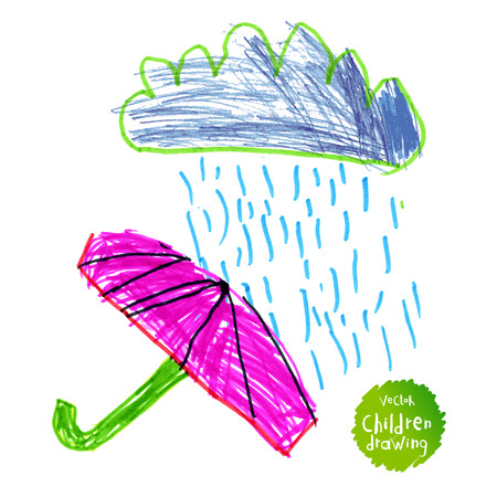 Vector drawing of real children. Rain and red umbrella Illustration
