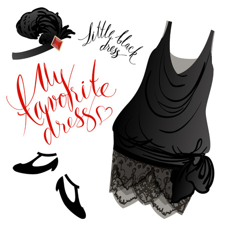 Vector image of black retro dress, shoes and headgear