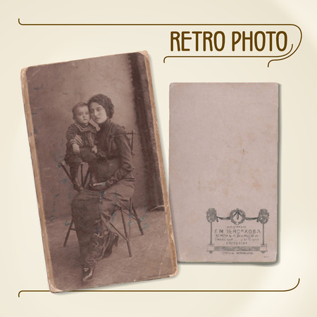 20th: Set of vector traces of ancient photos from the early 20th century