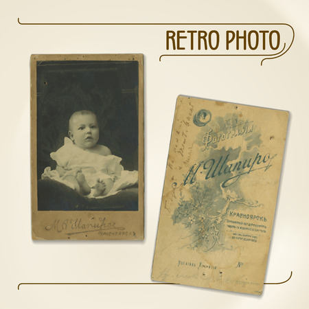portrait: Set of vector traces of ancient photos from the early 20th century