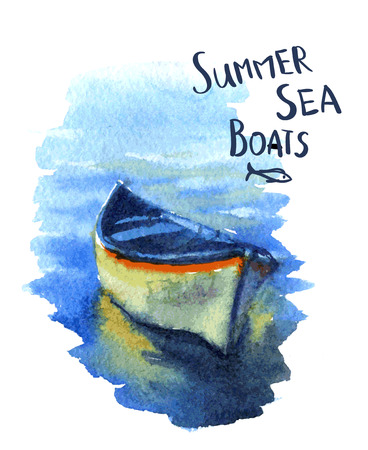 seascape: watercolor image of the fishing boats Illustration