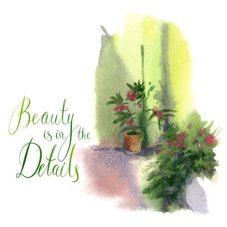 laurier rose: l'image d'aquarelle d'un pot de fleur sur le mur Illustration