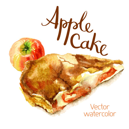 pie: watercolor sketch A slice of apple cake and apple