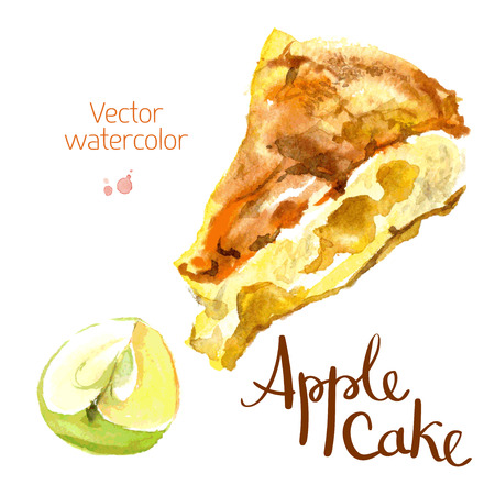 spice cake: watercolor sketch A slice of apple cake and apple