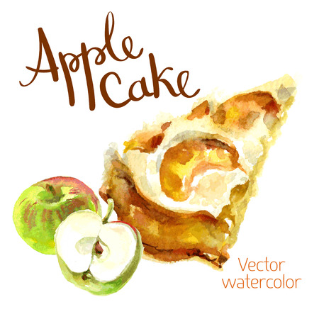 trozo de pastel: bosquejo de la acuarela Una rebanada de pastel de manzana y manzana