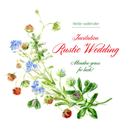 berry: watercolor Template invitation to rustic wedding.  Illustration