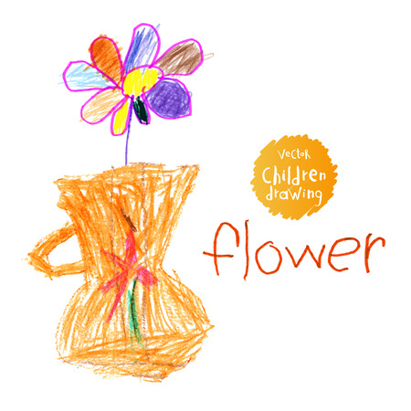 child's: illustration A naive drawing style imitating childs drawing. A flower in a vase Illustration