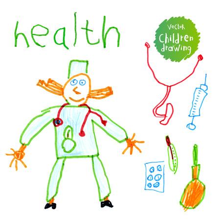 illustration A naive drawing style imitating childs drawing.