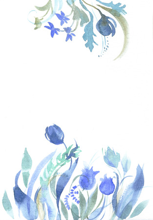 Watercolor floral sketch. Border of fancy blue wildflowers. Template for congratulations.