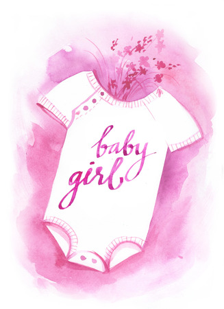romper: Watercolor sketch Template for congratulations on the birth of a child.