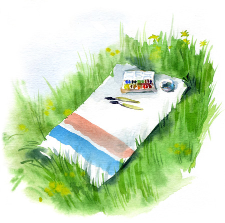 Watercolor sketch Tools of the artist on the grass