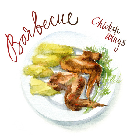 potatoes: Vector watercolor sketch. Chicken wings a grill with a side dish of boiled potatoes Stock Photo