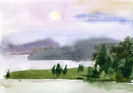waterfront: Evening watercolor landscape. The waterfront, the mountains and the moon.