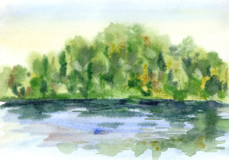 drawing trees: Summer watercolor landscape.  Stock Photo