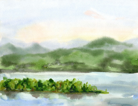 openair: Summer watercolor landscape. The waterfront, mountain, island and sky.