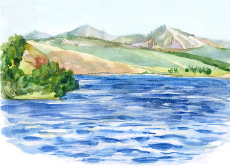 Summer watercolor landscape. The waterfront, mountains, meadows and woods. Stock Photo