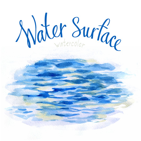 Watercolor background. The surface of the water. Light waves and ripples.