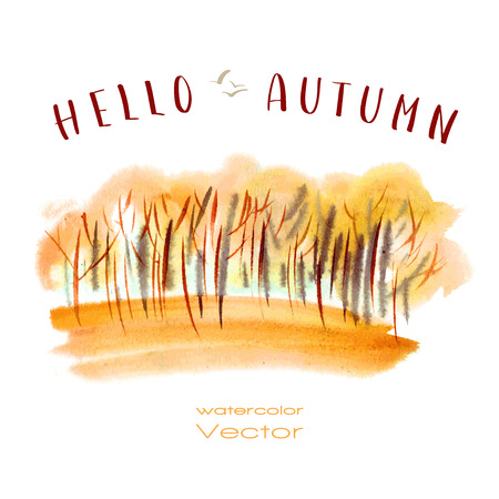 Vector watercolor illustration autumn orange trees