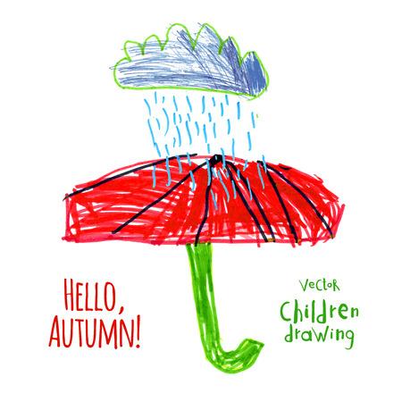 Vector illustration. A naive drawing style imitating childs drawing. Rain and red umbrella